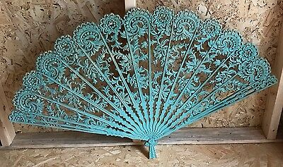 Wooded Hollow Engraved Pattern Hand Fan Ladies Wedding Party Mint Blue Vtg USA