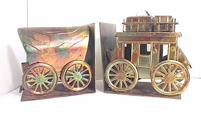 Vintage Metal Copper Bookends Wells Fargo Stage Coach & Covered Western Wagon