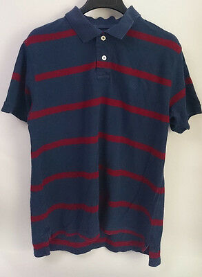 TIMBERLAND Men's Polo Shirt Blue Red Striped Size L Logo Crest Left Chest guc