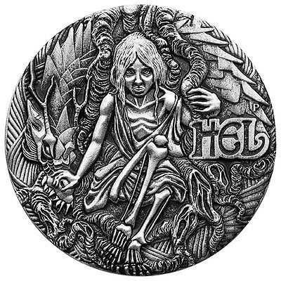 Tuvalu 2017 Norse Goddesses #3 Hel + Dragon Goddess Antique 2 Oz Silver Antiqued