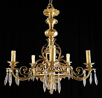 Ant French solid bronze & crystal chandelier Original gilt bronzes crystal prism