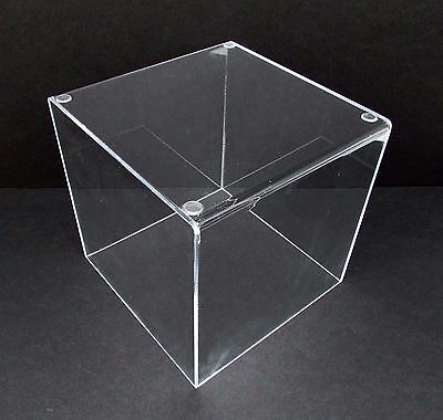 "Acrylic 8"" Jewelry Cube Riser 5-Sided Clear Display Box NEW"
