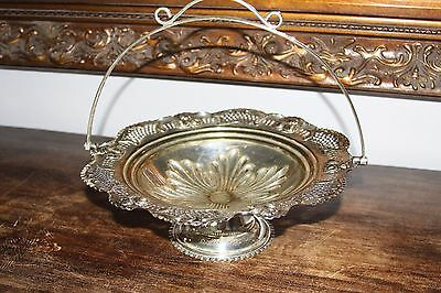 silver plated stemmed fruit bowl with handle epns