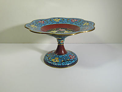 Large Chinese Cloisonne Footed Dish / Bowl / Compote / Tazza - Blue With Flowers
