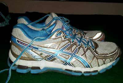 womens white blue & gold 'Asics' Gel Kayano 20 athletic/running shoes size 9.5 M