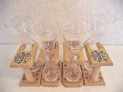 New 4 Pauwel Kwak Belgian Ale Beer Glasses 1 Pint With Wooden Stands Lot Of 4