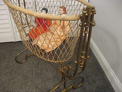 Rare Early Victorian Brass Swinging Cradle Baby Bed Cygnet Crib Doll Display
