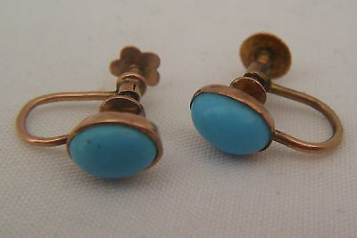 A Pair Of Antique C1900's Natural Turquoise Set 9ct Gold Screw-Back Earrings!!