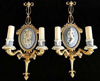 Antique french Louis XV style bronze and ceramic pair of sconces
