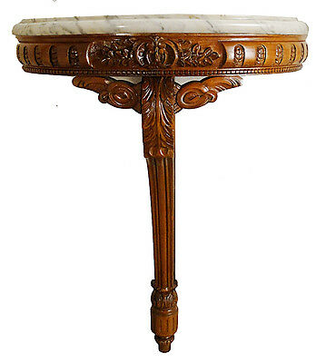 Antique french Luis XV style wood and marble console table