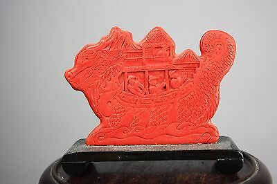 20th C. Chinese Carved Red Lacquer Sampan/Boat