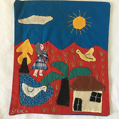 Hand Embroidered/Appliqued Picture-Signed-El Salcador-c.1975