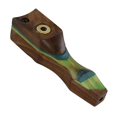 Green Wave Wooden Handmade Tabacco Smoking Pocket Pipe
