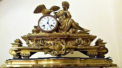 Antique French Ormolu Figural Mantel Clock & Base
