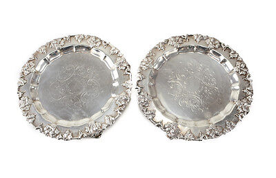 Pair of EG Webster and Son Silverplate Footed Trays 2007/3 c1885 Raised ivy