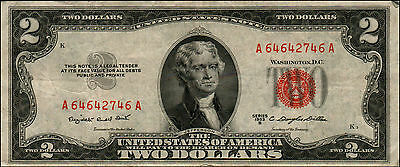1953B $2 Dollar Bill Old Us Note Legal Tender Paper Money Currency Red Seal Q14