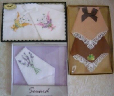 Beautiful Vintage Boxed And New Handkerchiefs