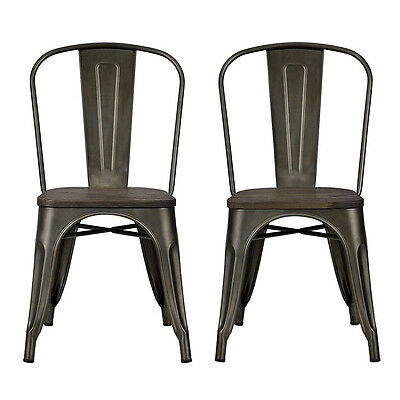 Antique Style Dining Chair 2pc Bistro Wood Seat Kitchen Furniture Metal Distress