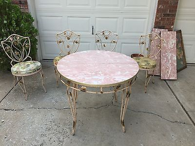 MID-CENTURY Formica Kitchen Table w/4 Chairs Garden Motif PINK 7 GOLD ~~~ RARE!