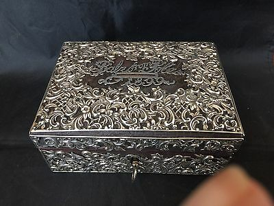 Birmingham, England 1898 Sterling Silver Over Leather Covered Bank Box W/Key