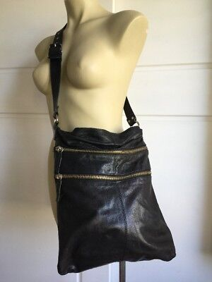 Large Black Hobo Leather Bag Crossbody Country Road EUC