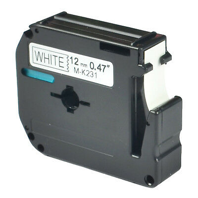 Label Tape 12mm Black on White Compatible for Brother M-K231 MK231 P-touch Print