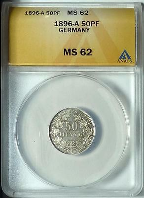 CHEAP! Germany 1896-A 50 Pfennig, ANACS MS62, Rare Type