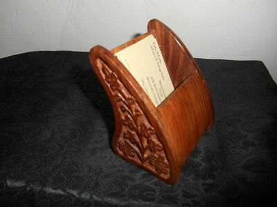 Lovely Vintage Desk Accessory Hand Crafted Wooden Business Card Holder