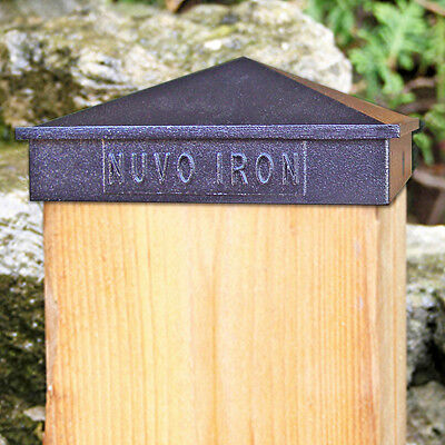 "Nuvo Iron PCP02 CASE OF 24 4"" X 4"" PYRAMID POST CAP BLACK galvanized 3.5"" posts"