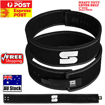 Weight Lifting Power Belt Lever Black Leather Gym Back  Fitness Bodybuilding