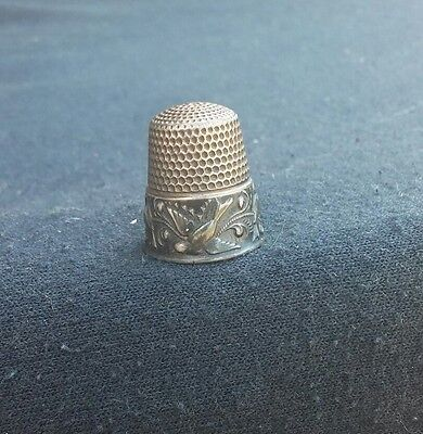 Antique Sewing Sterling Silver Waite Thresher Birds on Branch Thimble Size 12