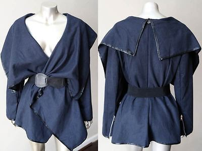 Steampunk Bustle Off Shoulder Plunging Versatile Cape Navy Blue Draped Coat S+M