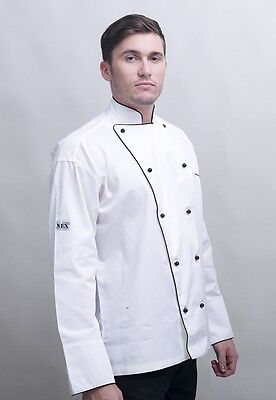 Executive Chef Jackets, White With Black Piping