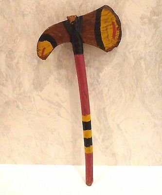 """Vintage Toy 13"""" Wood Tomahawk Hand Made Painted Primitive Rustic"""