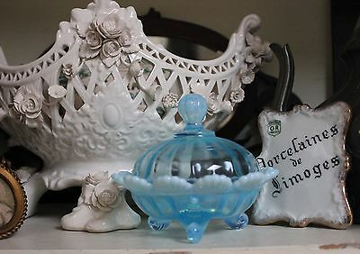 Antique Shabby Blue Opalescent Glass Trinket Dish with Lid