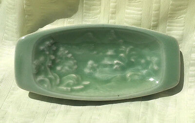 Vintage Japanese Celadon Small Dish Bowl W/Landscape In High Relief Inside