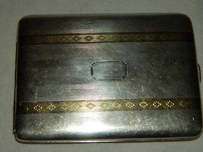 ANTIQUE MARATHON PRODUCTS STERLING SILVER & 14K YELLOW GOLD CIGARETTE CASE 112g