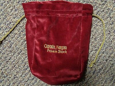 """Captain Morgan Liquor Private Stock Red Gold Suede Drawstring 9"""" Pouch Bag NEW"""