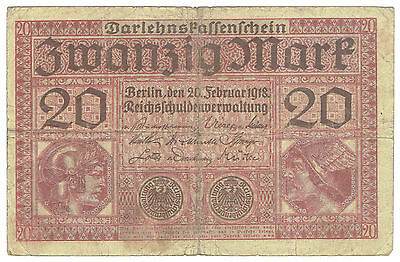 Germany 1918, 1920 & 1937 #57, 67a & 174b three bank notes on watermarked paper