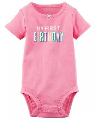 """Carters Infant Baby Girls """"My First Birthday"""" Pink Bodysuit 12M Months New NWT"""