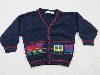 JUST FRIENDS Navy Blue Train Cardigan Sweater Toddler 2T R15