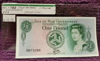 ND 1983 ISLE OF MAN One Pound Note, Cat. #29, CRISP UNCIRCULATED. Signature 5.