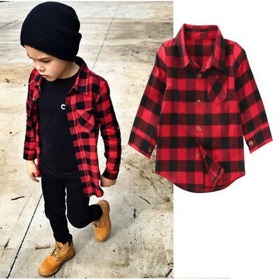 Kids Boy Children Long Sleeve Shirt Coat kids Red&Black Plaid Causal Tops