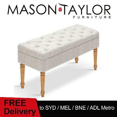 Mason Taylor Seat Footstool Fabric Linen Bench Stool Ben Couch Ottoman Beige