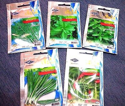 5 bags variety Thai vegetable seeds, plant, organic, tropical, Chia Tai, garden