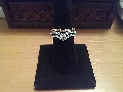 18k white gold & rose gold plated 3x stack pack rings sz 8