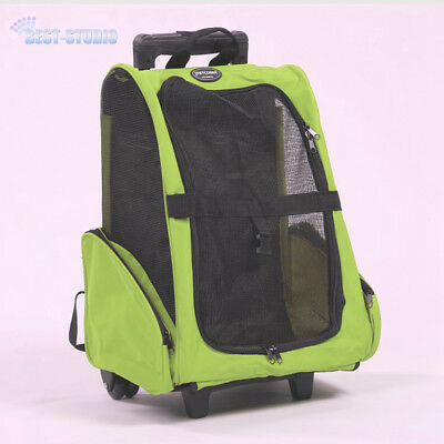 Green Pet Dog Cat Trolley Carrier Stroller Travel Backpack Cage Case Folding AU