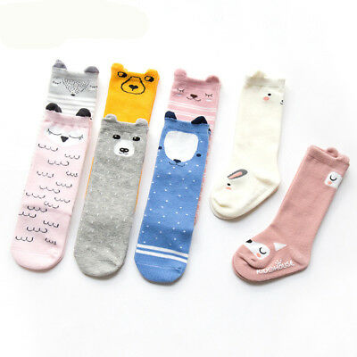 Cute Cotton Baby Socks with Ears Anti-Slip Infant Knee High Socks
