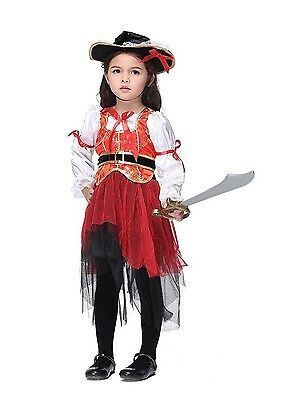 Halloween Cosplay Party Dress Pirate Costume for Kids Girls - Size S