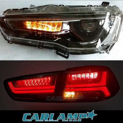 LED Blackout Headlights & Smoked Tail Lights For Mitsubishi Lancer / EVO X 08-17